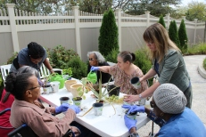 Participants Gardening with Volunteers