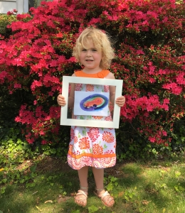 Hanna with Beth's painting